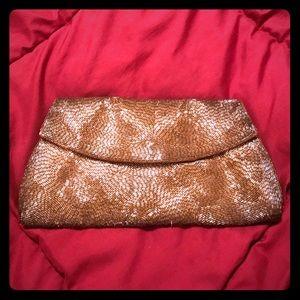 Handbags - VTG Gold Metallic Raised Hand Beaded Clutch